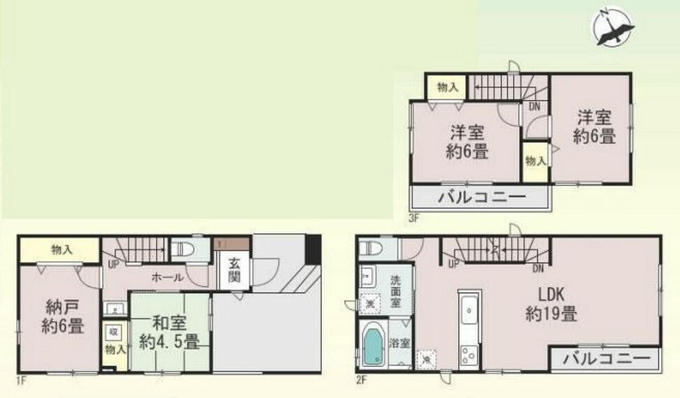 間取り図 3階建て3SLDKのお家 1号棟です