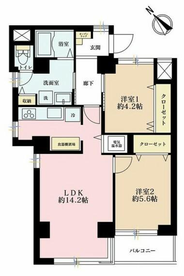 間取り図 2LDK、価格5799万円、専有面積58.64m2、バルコニー面積3.42m2