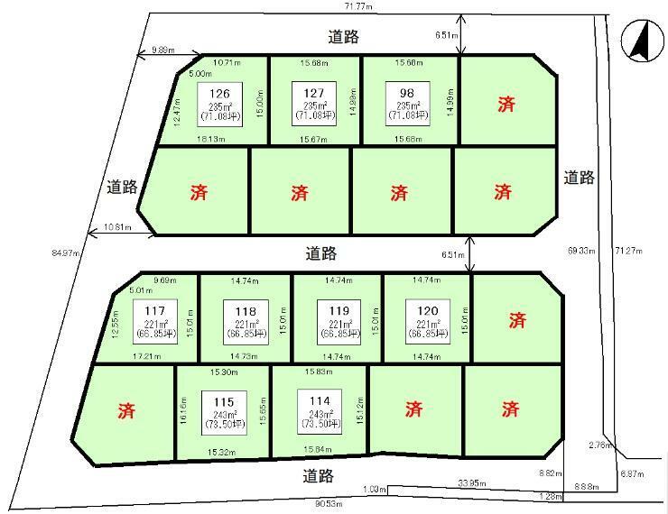 区画図 全体区画図:120区画221平米(66.85坪)
