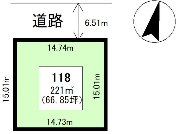 土地図面 118区画:221平米(66.85坪)