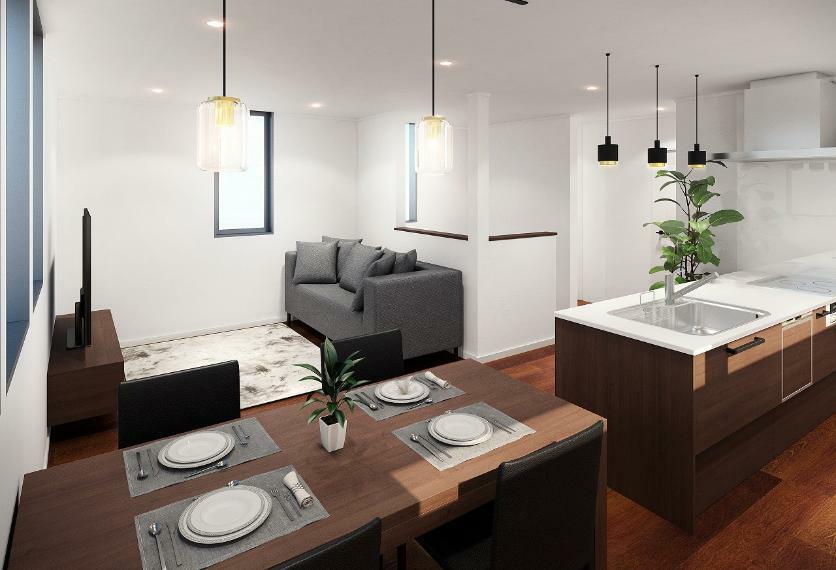 居間・リビング 内観イメージ図 白と木目調を基調とした落ち着いた雰囲気です。