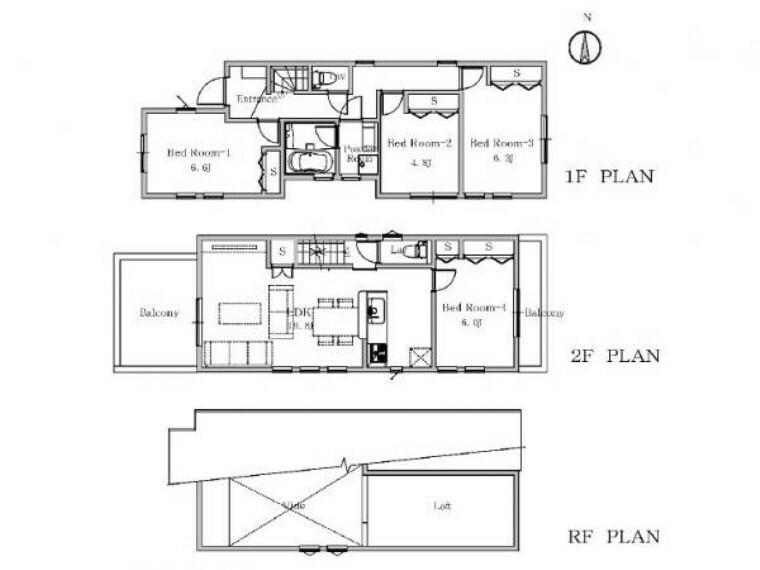 間取り図 心に安らぎとゆとりを叶えてくれる魅力の新邸です。リビング上部は吹抜により開放感たっぷりの住空間です。
