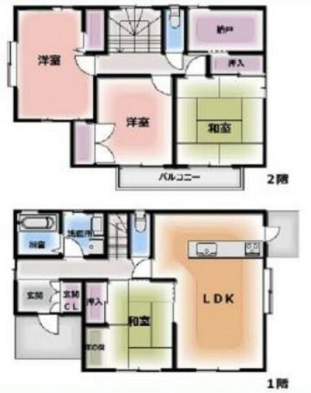 間取り図 土地47.22坪・ゆとりの4LDK・納戸・収納豊富・積水ハウスの家・車種により駐車2台可