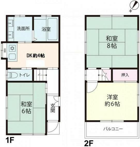 間取り図 家具の設置されたビルトイン車庫付き3DKの建物間取り図。