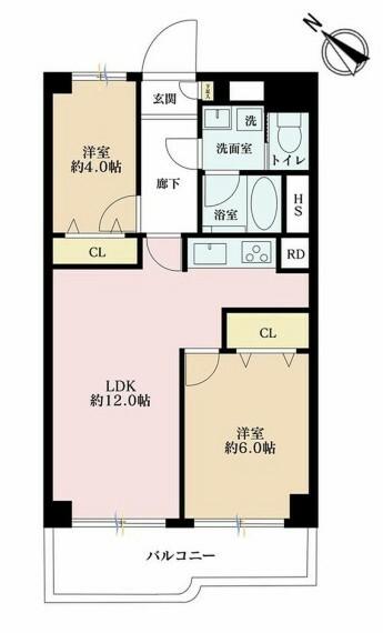 間取り図 2LDK、価格3199万円、専有面積53.43m2、バルコニー面積7.6m2