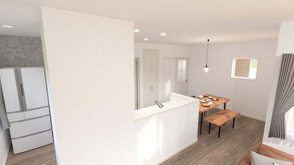 完成予想図(内観) キッチンは左右から出入りできるので使い勝手が良く、作業効率の上がるつくりとなっています。(内観完成予想図)