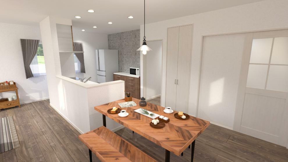 完成予想図(内観) ダイニングスペースがキッチンに隣接しているので、お料理の支度や後片付けも楽々です。(内観完成予想図)