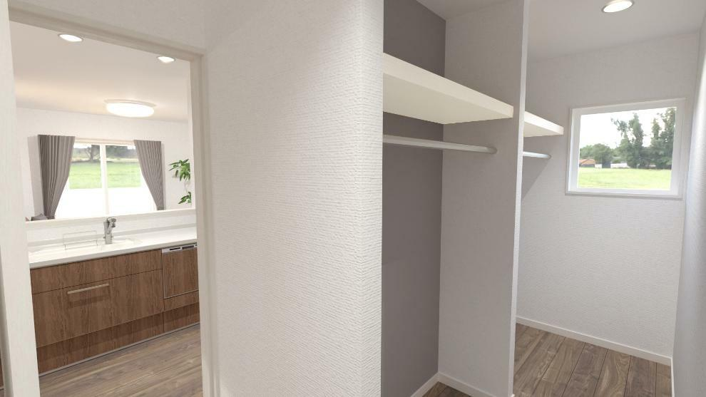 完成予想図(内観) キッチンと脱衣室を繋ぐウォークスルータイプのファミリークローゼットです。(内観完成予想図)