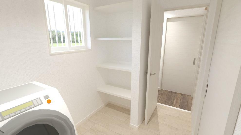 完成予想図(内観) ドライルームにも使える脱衣室は、天候に左右されずにお洗濯物を干せます。(内観完成予想図)