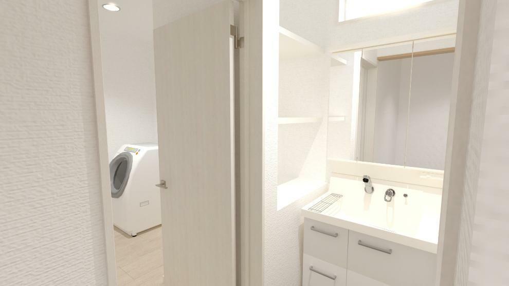 完成予想図(内観) 洗面室と脱衣室が分かれているので、ご家族も来客の際もみんなが気兼ねなく洗面台を使用できます。(内観完成予想図)