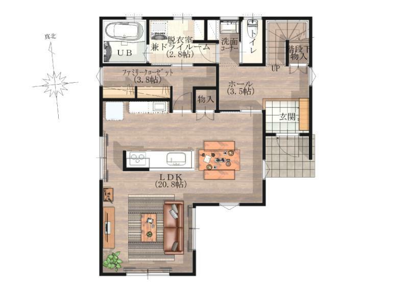 間取り図 【1階】キッチンを中心とした約21帖の広いLDKです。