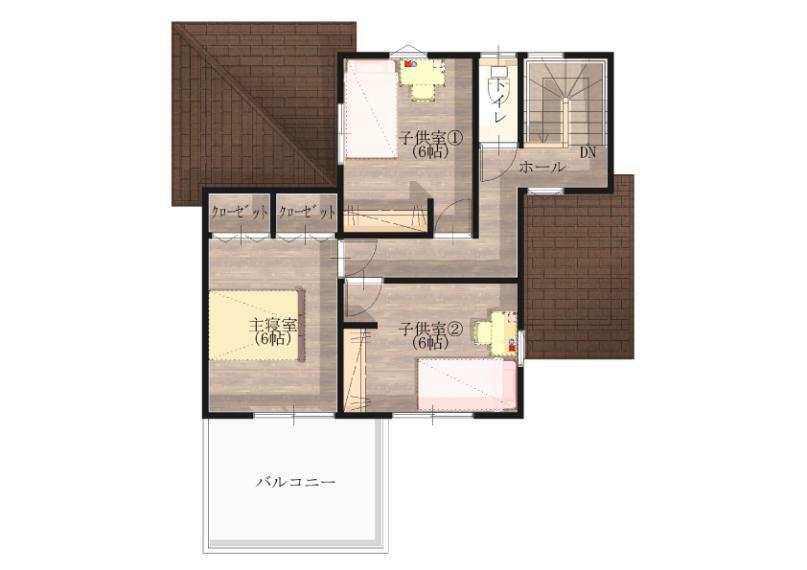 間取り図 【2階】南に面した広いバルコニーのある2階。家族みんなの洗濯物がたっぷり干せます。