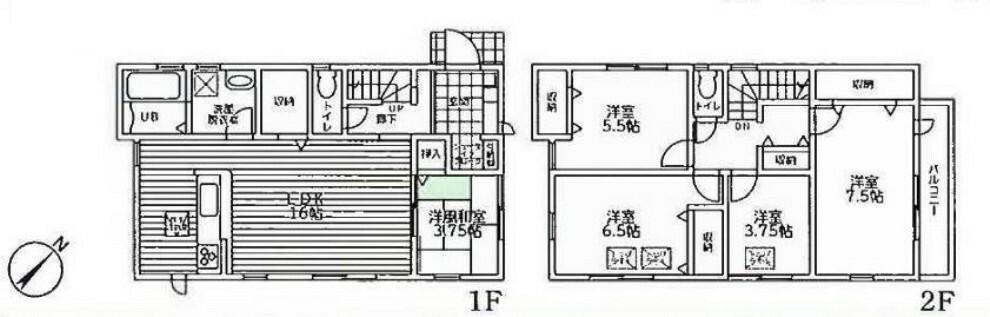 間取り図 2階建て5LDKのお家 2号棟になります!