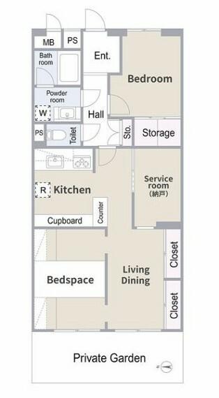 間取り図 平成26年2月リフォーム済みのお部屋~ベッドスペース、2か所のデスクコーナーを設けました。テレワークスペースやお子様の勉強机にオススメ!多目的にご活用いただける専用庭付きのお部屋です。