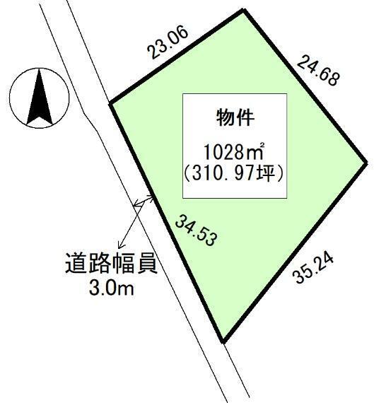土地図面 公簿:1028平米(310.97坪)
