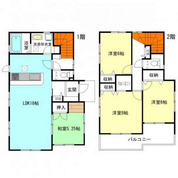 間取り図 18帖LDK+全居室6帖超の広々間取り 各所に収納充実  ゆとりの広さのワイド階段!開放感があり広々  2部屋から行き来可能な続きバルコニー