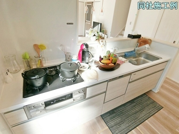 キッチン システムキッチンは食器洗浄機付き!スライド収納タイプなので収納量が豊富です