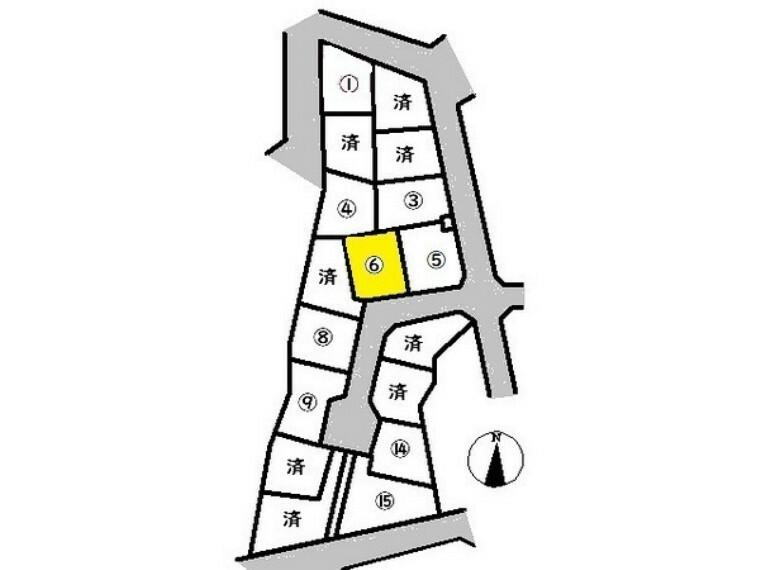 区画図 敷地面積:160.76平米 駐車3台可能です