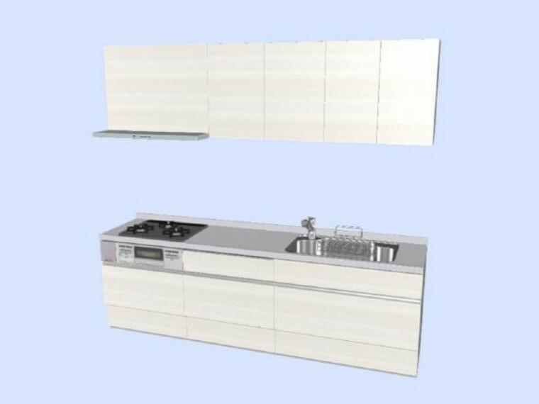 キッチン 【同仕様写真】キッチンはLIXIL製の新品に交換します。天板は人造大理石製なので、熱に強く傷つきにくいため毎日のお手入れが簡単です。引出には一升瓶や胴鍋のような背の高いものも収納できます。