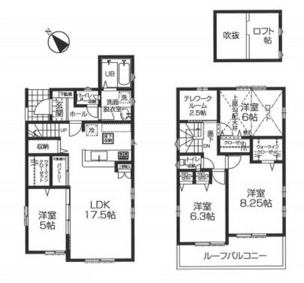 間取り図 2階に2.5帖のテレワークルームをご用意、書斎やおもちゃ部屋にも。