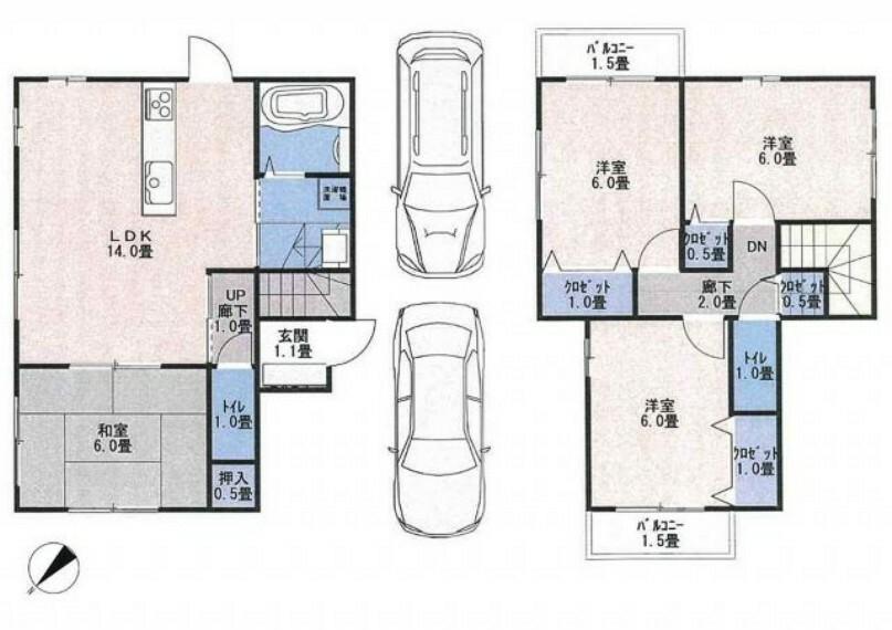 間取り図 土地30.44坪。全室6帖以上、オール電化の4LDKです。