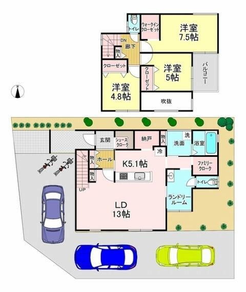 間取り図 間取り・3LDK!駐車スペース3台可!