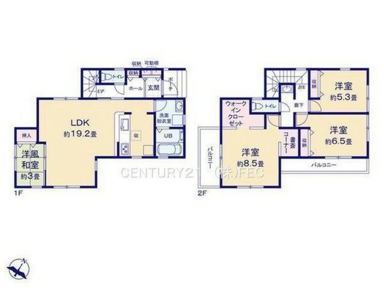 間取り図 1階は、広々とした19.25帖のLDKに3帖の和室を併設! 2階は、WIC・2.16m2書斎付きの8.5帖の主寝室、6.5帖・5.34帖の洋室! 南側・西側二面バルコニー!