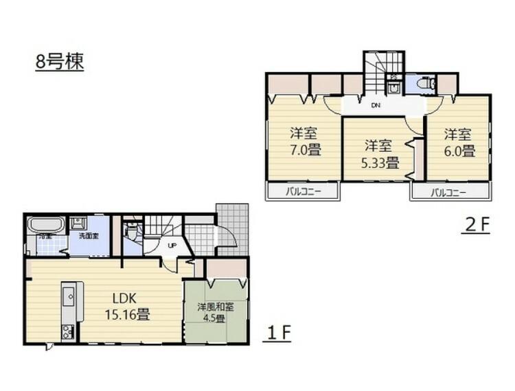 間取り図 1階は、15.16帖のLDKに4.5帖の洋風和室が併設。2階はダブルクローゼットを設置した7帖の主寝室と6帖、5.33帖の洋室。全居室南向き!