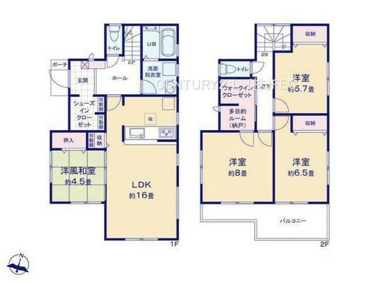 間取り図 1階は、16帖のLDKに4.5帖の和室が併設。玄関には大容量のSIC!2階は、テレワークにも便利なフリースペースとWICのある8帖の主寝室。6.5帖、5.75帖の洋室です。南側ワイドバルコニー!