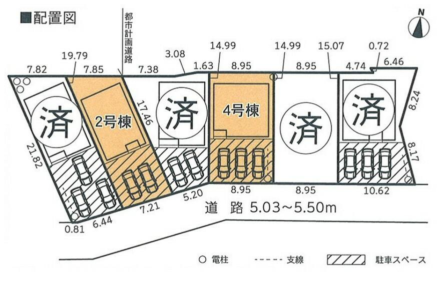 区画図 2号棟 カースペース並列2台駐車可
