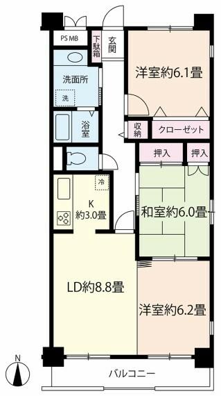 間取り図 地下1階部分のお部屋です!間取り:3LDK・専有面積:70.8m2!大事なペットと一緒に暮らせます!(飼育細則有)