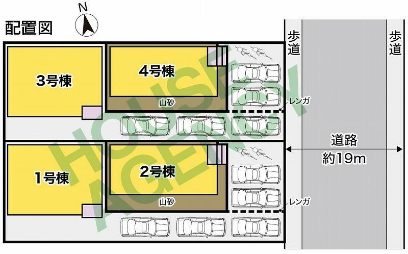 区画図 4号棟 東側約19mの公道に約6.7m接道