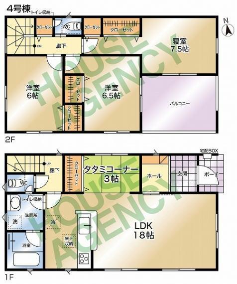間取り図 3LDK 敷地面積:118.21平米(35.75坪) 建築面積:105.3平米(31.85坪)  全室南向きのご住宅です! 11月完成予定!