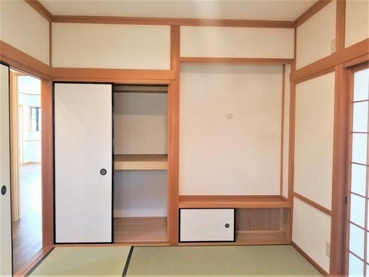 収納 収納・和室の押入。お布団などもすっきり収納できます。