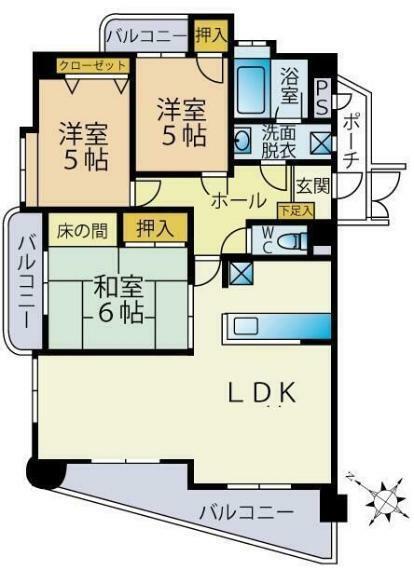 間取り図 4LDKからリビングを広くするため、3LDKに変更しております。