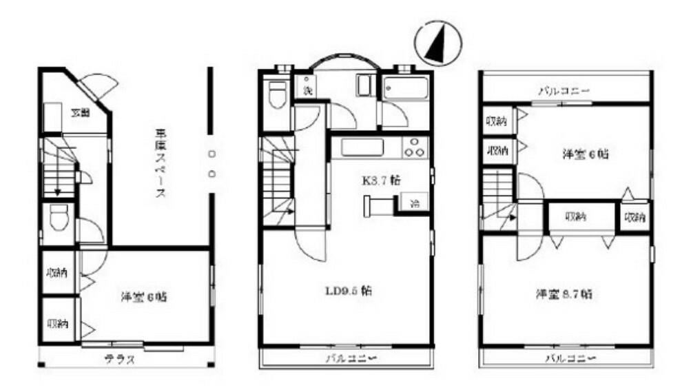 間取り図 リビングは陽ざしのあふれる2階に。 全居室に収納があり収納豊富。