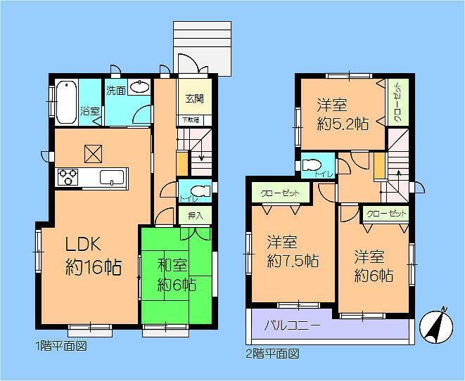 間取り図 1号棟 4LDK 和室があります