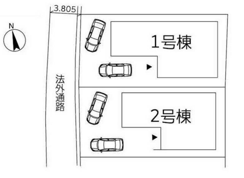 区画図 2台駐車可