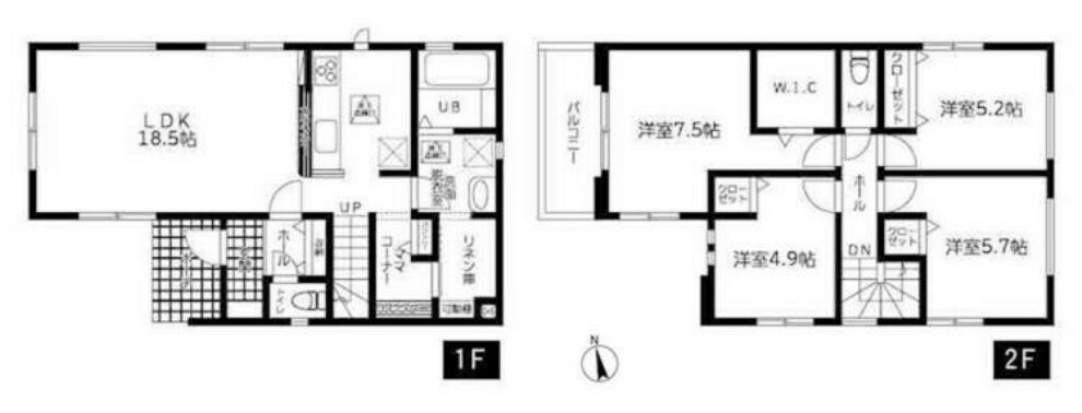 現況外観写真 2階に4部屋ある4LDKです。リネン庫・ママコーナーがあります。