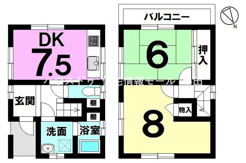 間取り図 全居室6帖以上の2DK