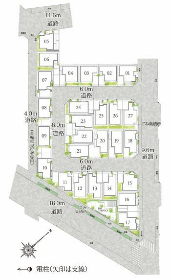 区画図 【豊かな広がりを描く全27邸の街】  敷地の南側を広く確保した配棟や、街区内道路に面して各邸の庭を連続させることで、豊かな広がりとあたたかな陽だまりの街並みを創出しました。