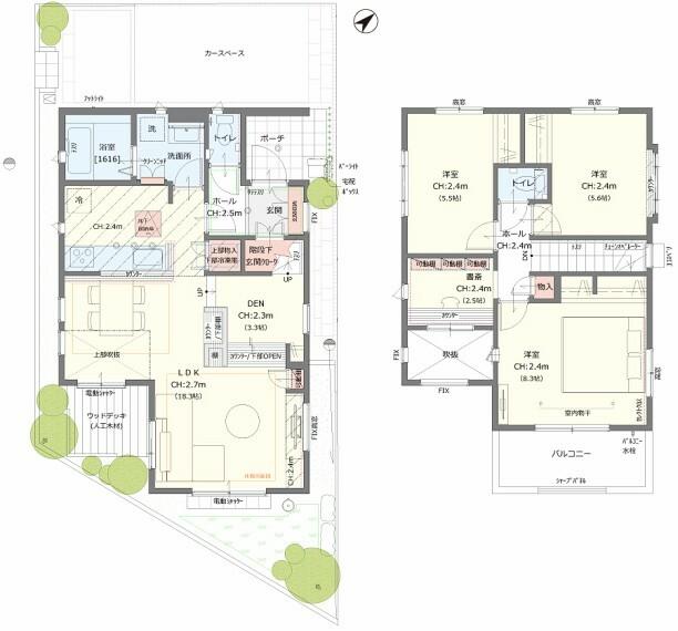 間取り図 【10号棟】3LDK+DEN+階段下玄関クローク+書斎
