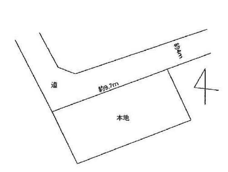 区画図 敷地は約30坪!北西道路に面しております。
