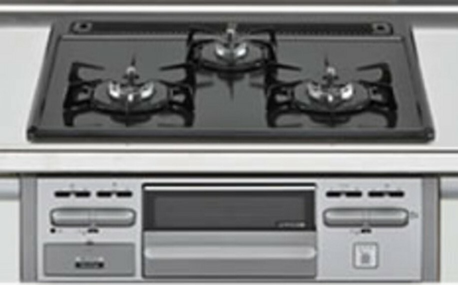 キッチン 3種類の料理が同時に調理できる、3口ガスコンロ。忙しい夕食の支度時間が短縮できて嬉しいですね。