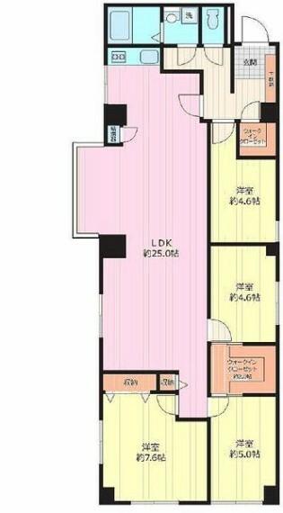 間取り図 【すぐに見学可能】 ■広々約25帖のLDK  ■角部屋 ■新規リノベーションマンション