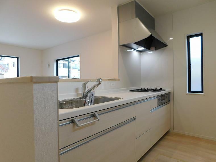 キッチン 浄水器付きシャワー水栓・三口コンロ・スライド収納ドア・床下収納付
