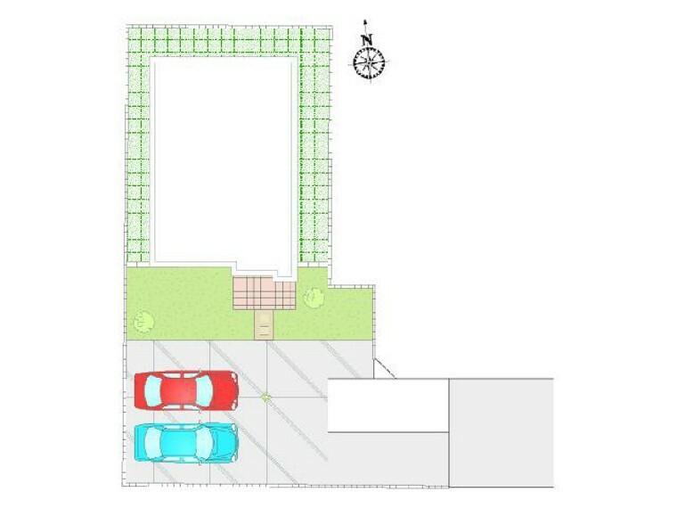 区画図 E号地 区画図・・・敷地内転回できるスペースを設けて、車2台並列駐車が可能です!!