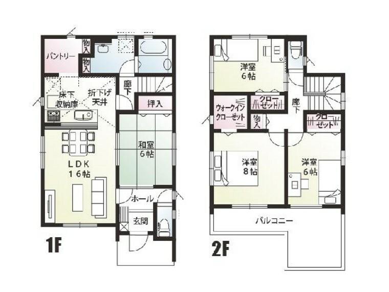 間取り図 E号棟 間取り図・・・16帖からなる南向きのリビングで日当たり良し、キッチン、洗面、浴室が隣り合っていることで家事動線良し、生活するのにとても便利な間取りとなっております。