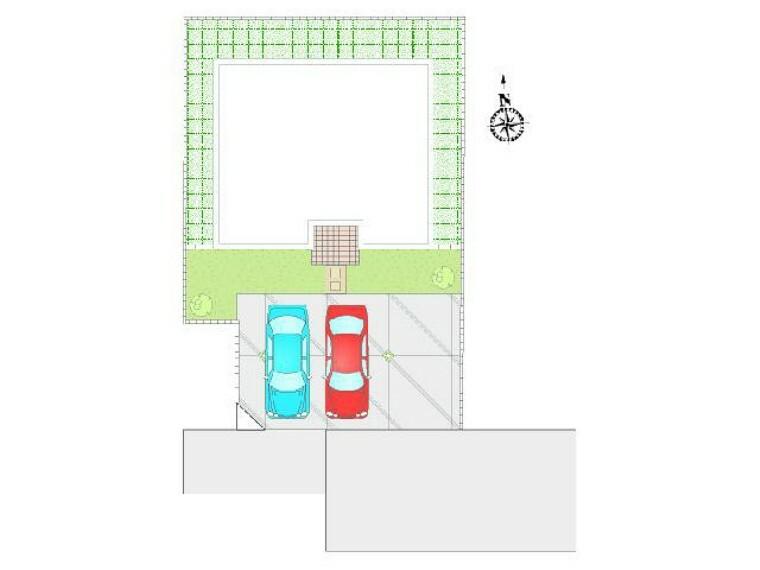 区画図 D号棟 区画図 駐車配置図・・・駐車スペースは、並列2台ゆったりお停めいただけます。