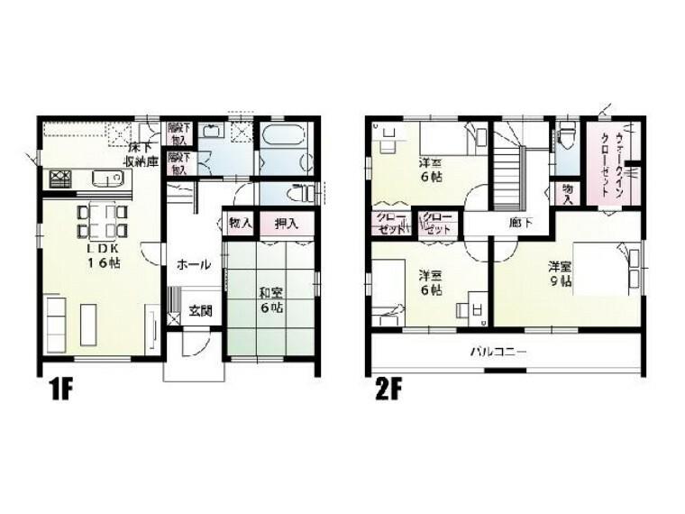 間取り図 D号棟 間取り図・・・LDK16帖と和室が、玄関ホールや廊下で別れているプランです。各所にバランスよく収納が充実したプランとなっております。